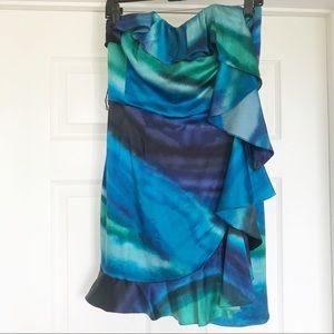EUC Express Strapless Multicolor Silk Dress Sz 6